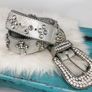 Western Bling Cowgirl Silver Leather Cross Belt MD